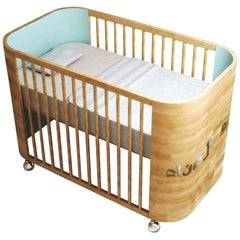 Embrace Dreams Crib in Beechwood and Sky Blue by MISK Nursery