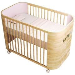 Personalized Embrace Love Crib in Beechwood & Cotton Candy Pink by Misk Nursery