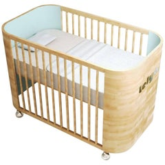 Personalized Embrace Love Crib in Beech Wood and Sky Blue by Misk Nursery