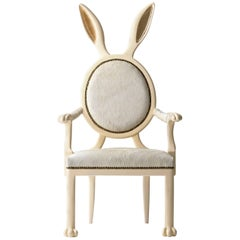 21st Century Hybrid No 2 Armchair with Bunny Ears and White Leather