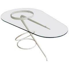 Vintage Midcentury Table Sculpture, Shaped White Metal and Glass Top