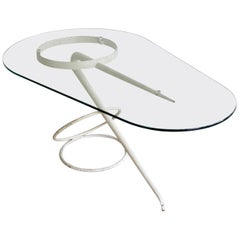 Vintage Midcentury Coffee Side Table Sculpture, Shaped White Metal and Glass Top