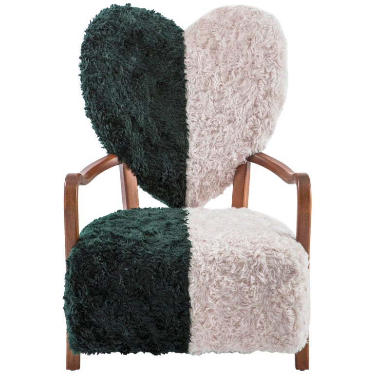 Contemporary Beechwood Uni Armchair with Heart Shaped Back and Mohair Upholstery