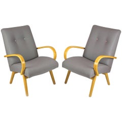 Midcentury Grey and Pastels Armchairs, 1960s, Set of Two