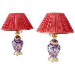 Pair of Bayeux Porcelain Lamps, Vase Shaped, Floral Imari Decor, circa 1880