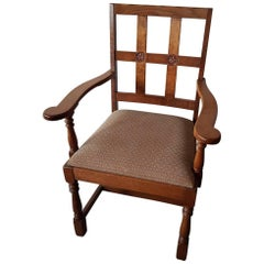 Late 20th Century Oak Armchair with Symbol Carvings