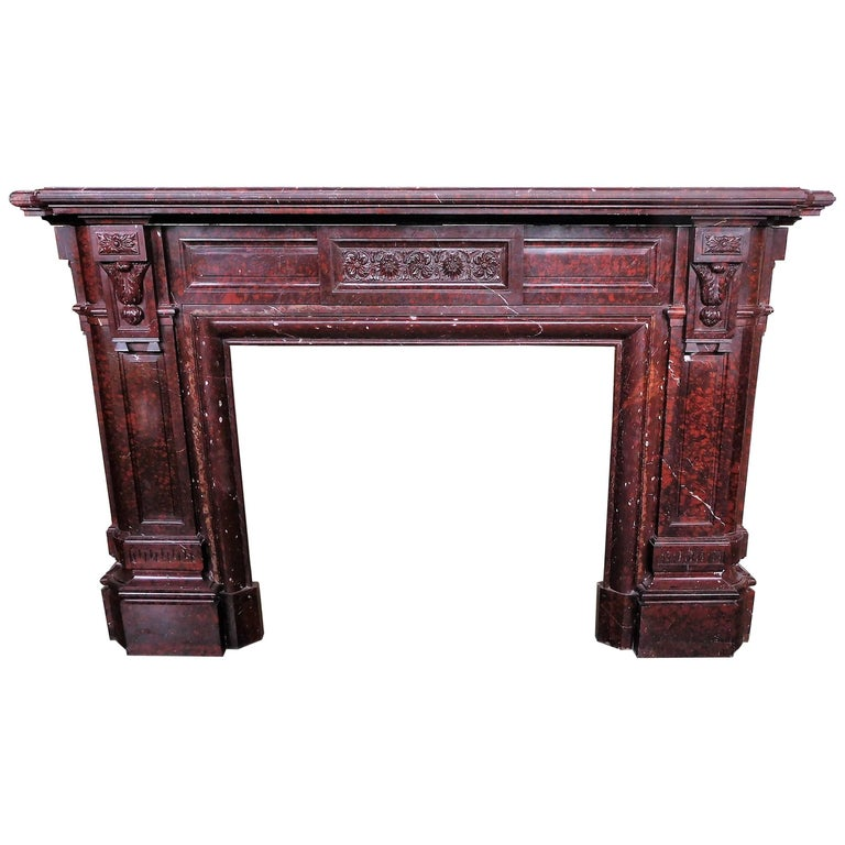 Antique Fireplace in Rare Red Griotte Marble For Sale