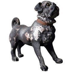 Italian Painted Plaster Model of a Pug Dog, circa 1900