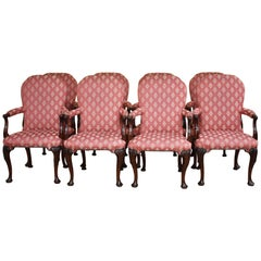Set of Eight 18th Century Style Open Armchairs