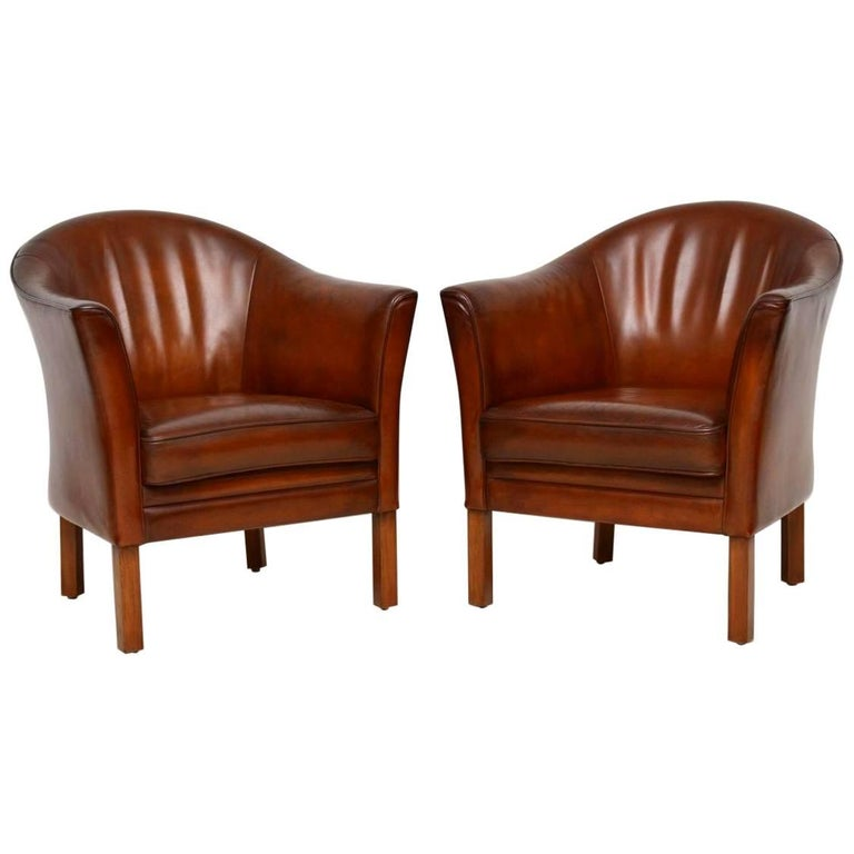 1950s Pair of Danish Vintage Leather Armchairs by Mogens Hansen