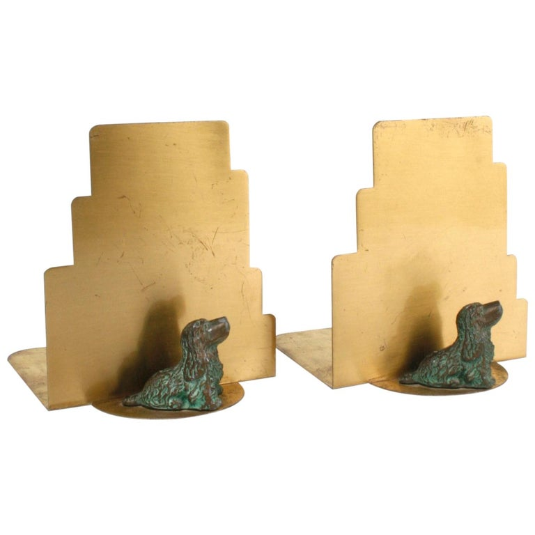 Art Deco Brass Bookends with Bronze Cocker Spaniels