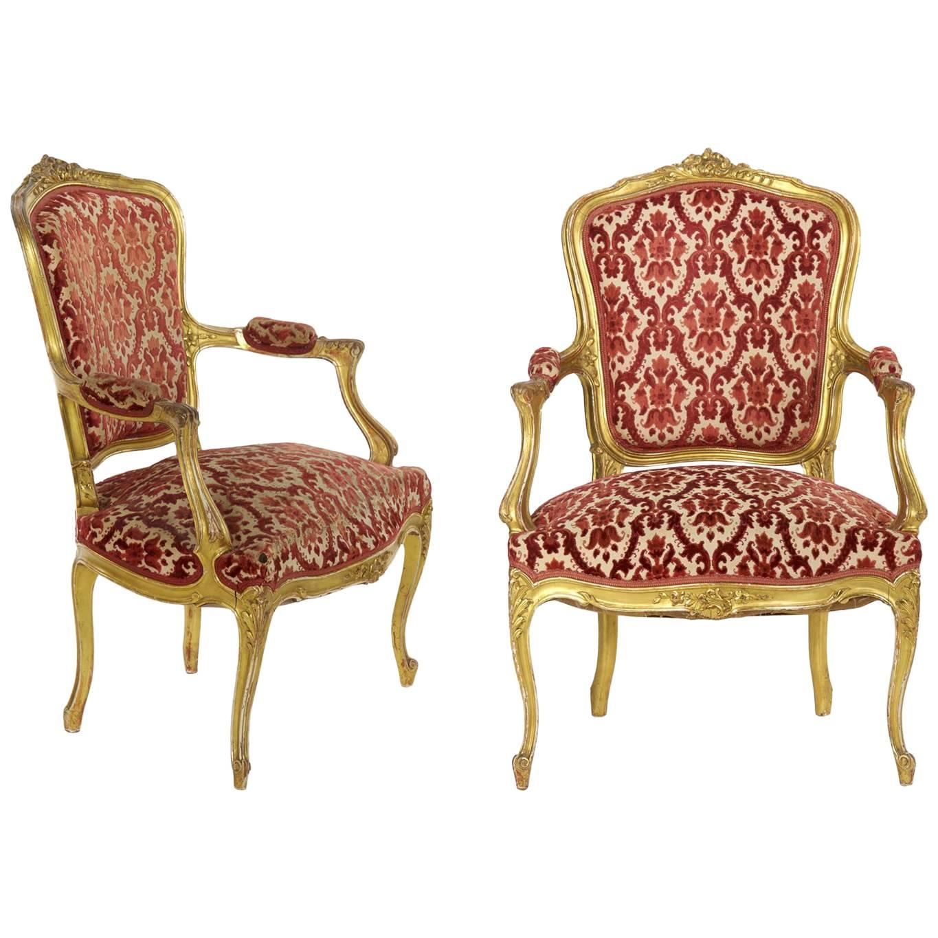 Pair Of French Louis XV Style Giltwood Antique Armchairs Fauteuils, Circa  1900 For Sale
