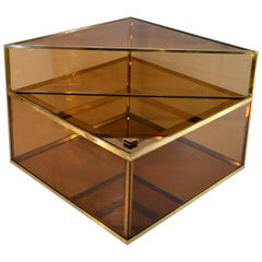 Italian Square Brass Bar Cocktail Table, 1970