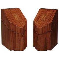 18th Century Sheraton Period Faded Mahogany Cutlery Boxes