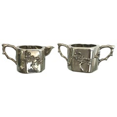 Chinese Export Sterling Silver Creamer and Sugar Luen Wo