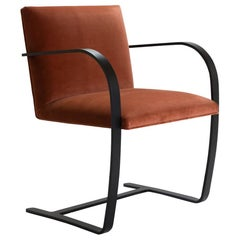 Brno Flat-Bar Chairs in Rust Velvet, Obsidian Matte Frame