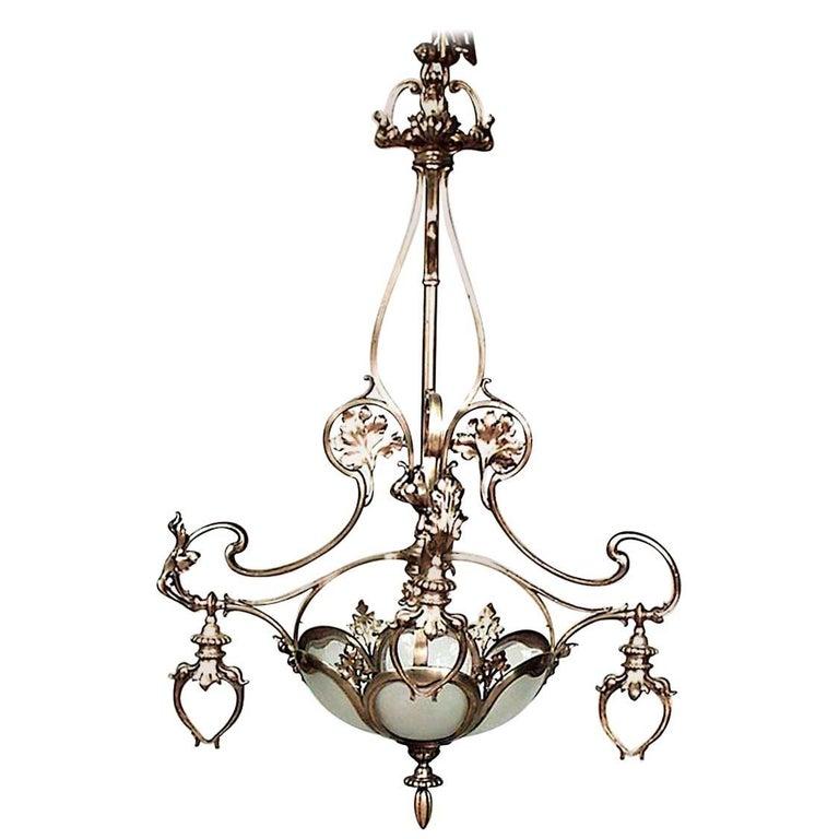 French Art Nouveau Bronze Doré Four-Arm Chandelier