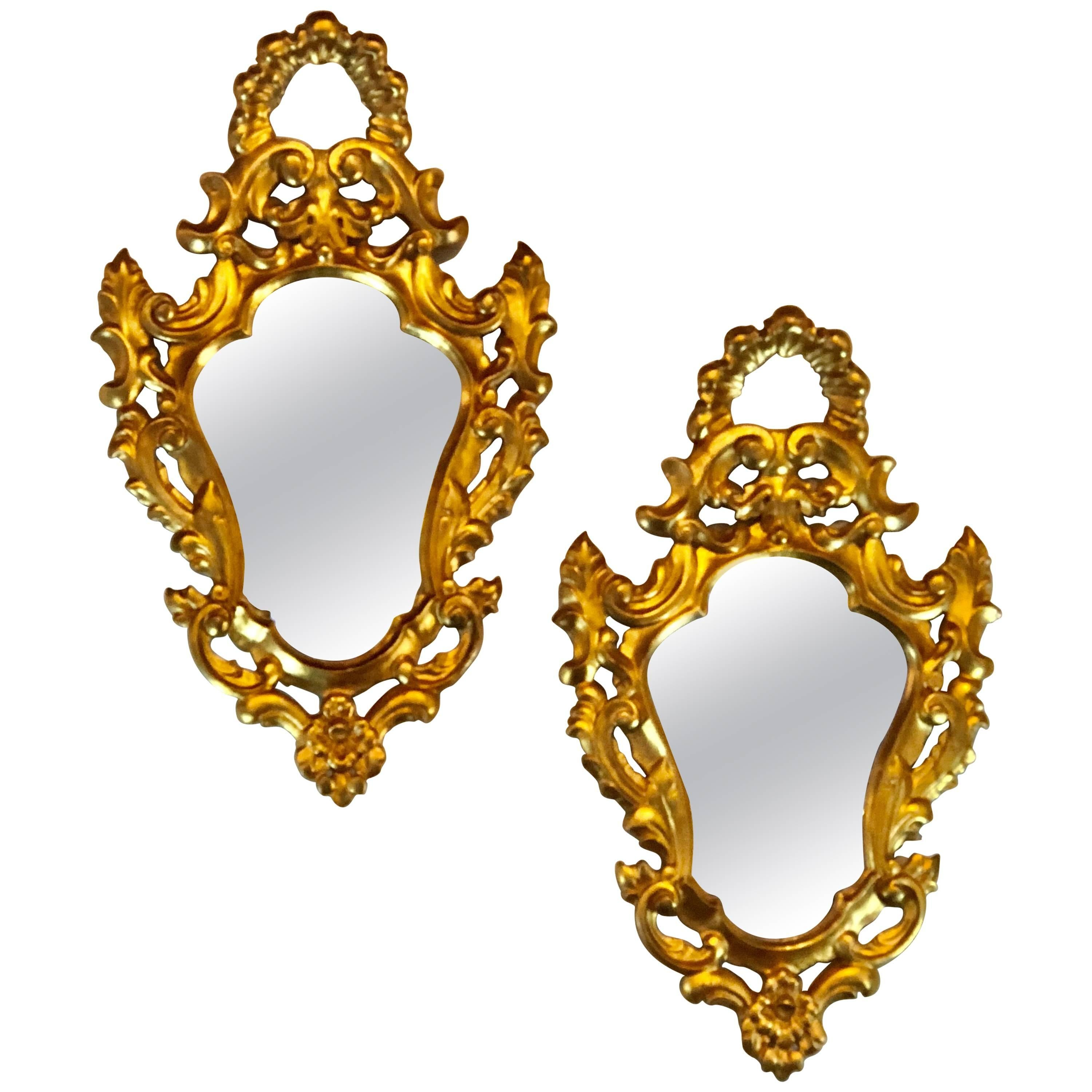 Pair of Small Giltwood Italian Rococo Style Wall Mirrors