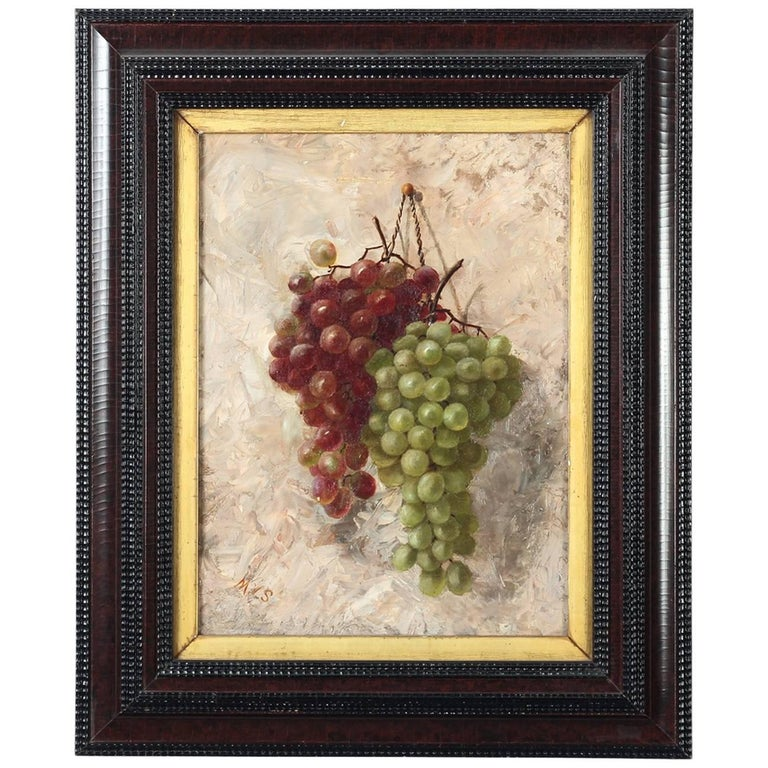 Antique American 'Grapes Still Life' Oil on Canvas Painting, 19th Century