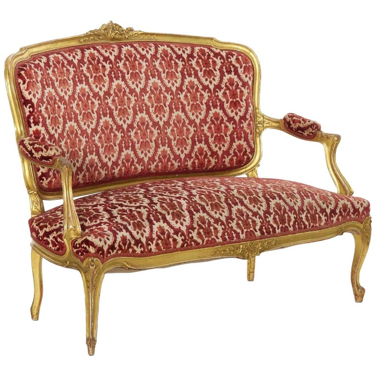 French Louis XV Style Antique Carved Giltwood Settee Sofa Canapé, circa 1900