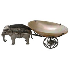 Edwardian Novelty Silver Elephant Pulling a Cart Pin Cushion Adie & Lovekin 1910
