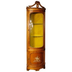 Italian Corner Cupboard in Wood with Floral Decorations in Louis XVI Style