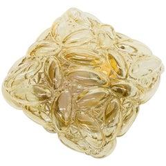 Oval Shaped Bubble Amber Glass Flush Mount by Limburg, 1960s