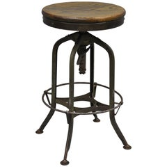 Defiance Wood & Metal Green Industrial Architect Draftsman Swivel Stool Drafting