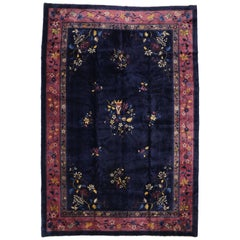 Antique Chinese Peking Rug with Chinese Art Deco Style, Chinoiserie Chic