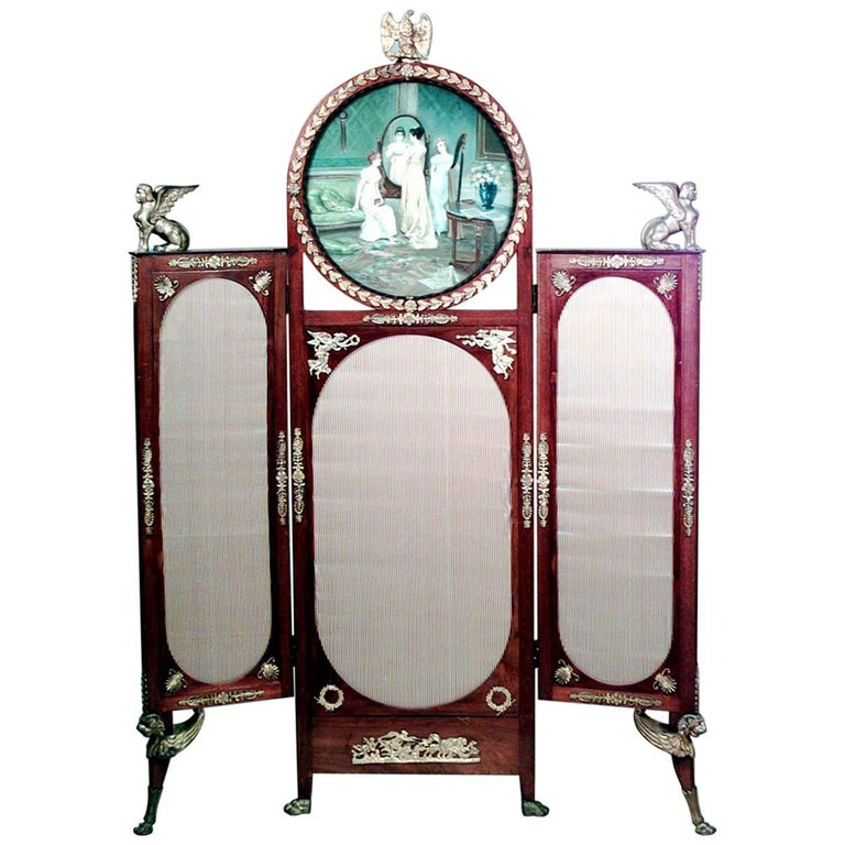 French Empire Style '19th Century' Mahogany Three Fold Screen For Sale