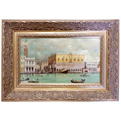 Framed Oil on Panel, View of Venice, Signed by Paolo Lucatello Late 20th Century