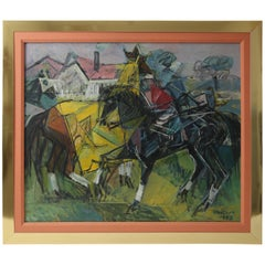 "American Cubist Oil on Canvas ""Derby Day"""
