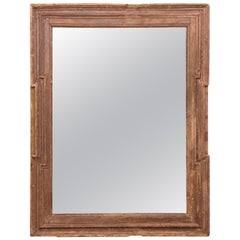 18th Century Spanish Rectangular Rustic Wood Mirror with Antiquing