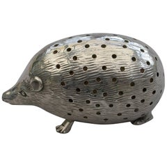 Edwardian Novelty Silver Hedgehog Pin Cushion Levi & Salaman, 1904