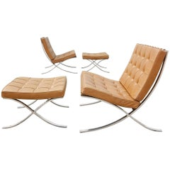 Ludwig Mies van der Rohe Barcelona Chairs and Ottomans by Knoll, 1969