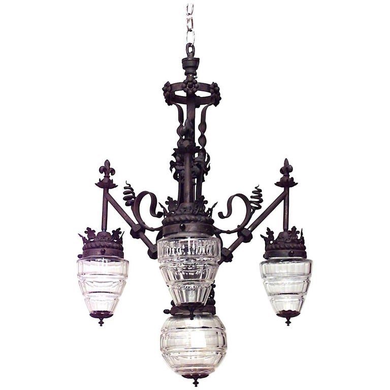 French Provincial Style '19th-20th Century' Wrought Iron Three-Arm Chandelier