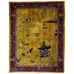 Gold and Purple Antique Chinese Art Deco Rug