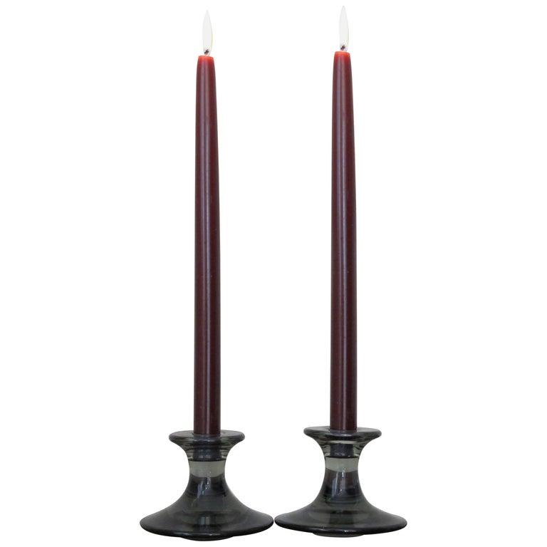 1960s Per Lutken Scandinavian Midcentury Glass Candlesticks for Holmegaard