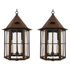 Pair of Patinated Iron and Glass Lanterns, England, circa 1960s