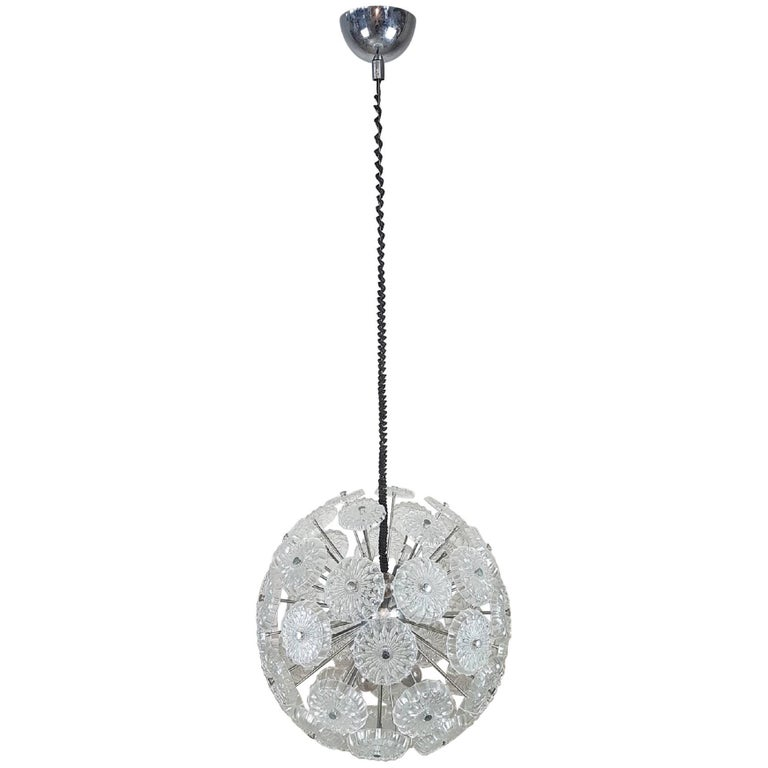 Sputnik Glass and Chrome Italian Chandelier, 1980s
