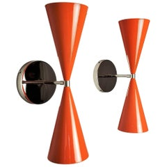 Polished Nickel + Orange Enamel 'Tuxedo' Wall Sconces by Blueprint Lighting NYC