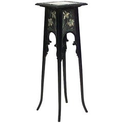 French Art Nouveau Ebonized Pedestal with Floral Design