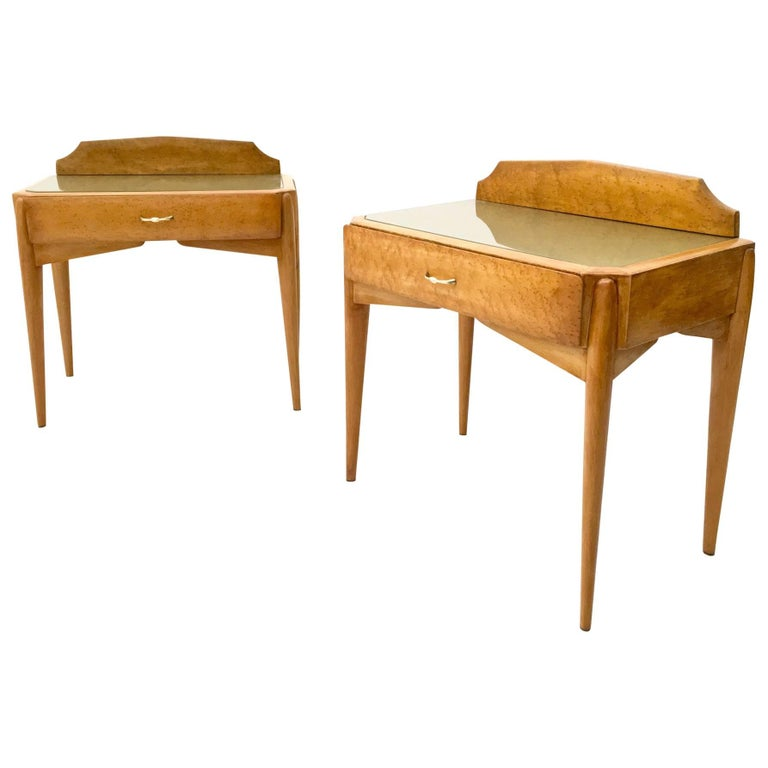 Pair of Birch and Beech Nightstands with a Glass Top, Italy, 1950s