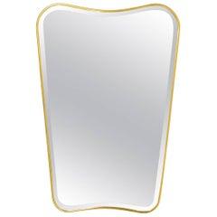 Gio Ponti Style Italian Brass Midcentury Mirror