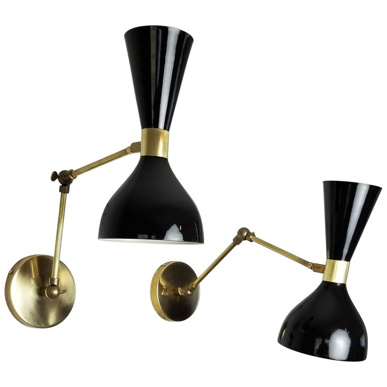 Brass + Black Enamel 'Ludo' Wall Sconce or Reading Lamp, Blueprint Lighting NYC For Sale