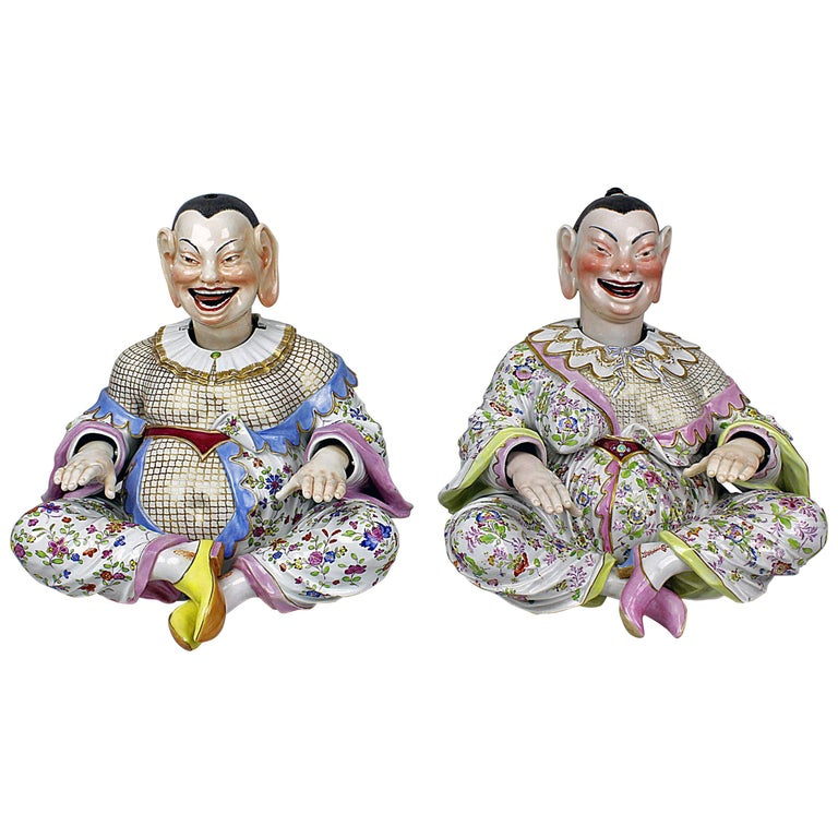 Meissen Buddha Pair of Male and Female Movable Hands Head Tongue Kaendler For Sale