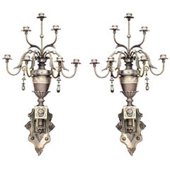 Pair of Victorian Painted and Gilt Trimmed 7 Arm Wall Sconces