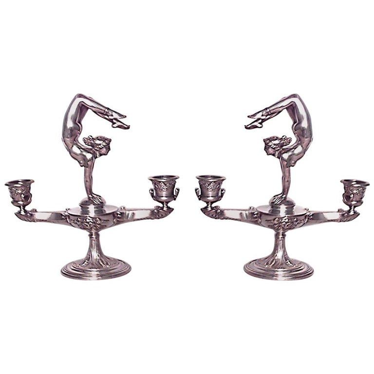 Pair of French Art Nouveau Silver Plate over Bronze Candelabras