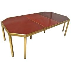 Guy Lefevre Maison Jansen Brass and Glass Dining Table