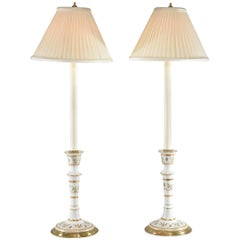Pair of Candlestick Form Porcelain and Brass Table/Buffet Lamps Frederick Cooper